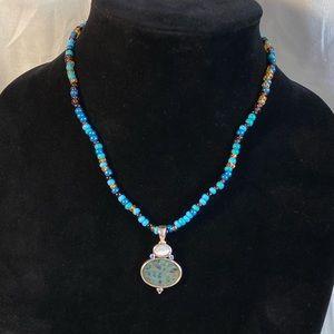 Vintage Liz Claiborne Beaded Pendant Necklace